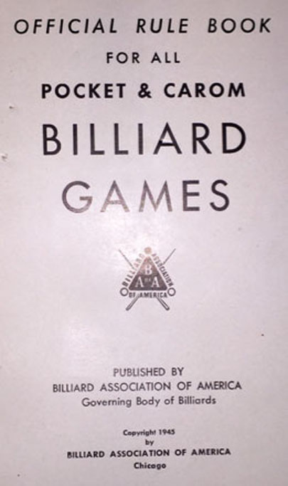 Poker pocket billiards rules BCA 1945 - 2