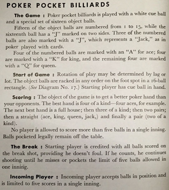 Poker pocket billiards rules BCA 1945 - 3