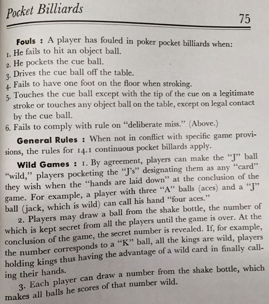 Poker pocket billiards rules BCA 1945 - 5
