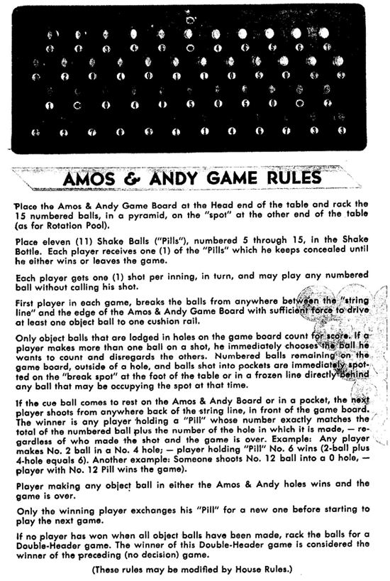 amos and andy billiards rules