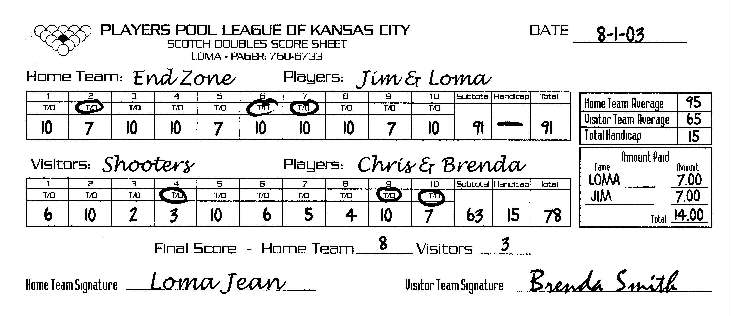 sample pool league score sheet