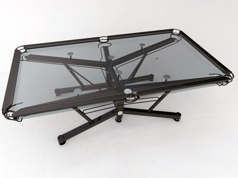Glass pool table with black frame