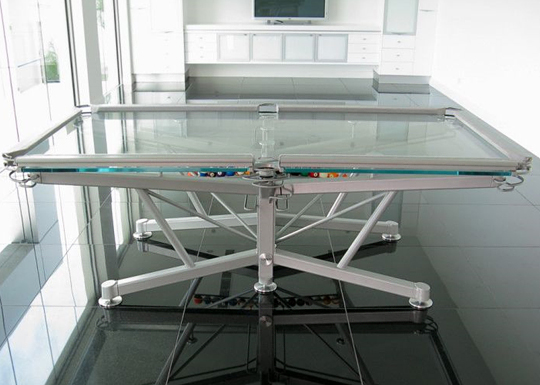 Glass billiard table with metal frame