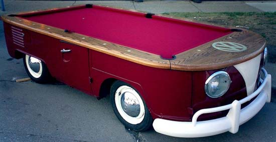 Billiard Table Made from a Volkswagen Bus