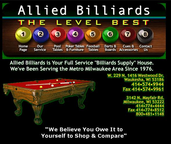 Allied Billiards Waukesha - Westwood pool table