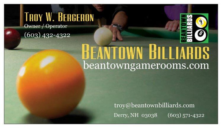 Beantown billiards derry business card from beantown billiards derry nh colourmoves