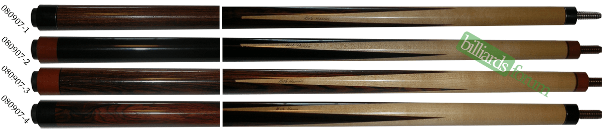 A picture of pool cues from the Bob Harris 2007 Custom Sneaky Pete Series line of cues. It can be used to identify 2007 Bob Harris Sneaky Pete Series Cues and find out how much Bob Harris 2007 Custom Sneaky Pete Series pool cues are worth.