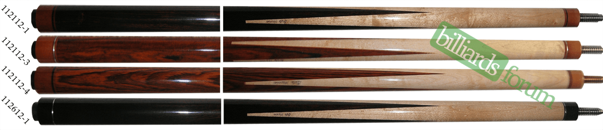 A picture of pool cues from the Bob Harris 2012 Custom Sneaky Pete Series line of cues. It can be used to identify 2012 Bob Harris Sneaky Pete Series Cues and find out how much Bob Harris 2012 Custom Sneaky Pete Series pool cues are worth.