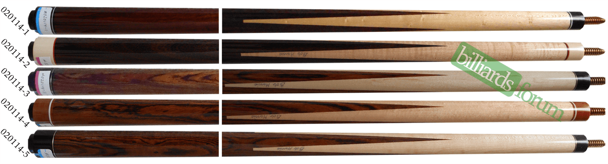 A picture of pool cues from the Bob Harris 2014 Custom Sneaky Pete line of cues. It can be used to identify 2014 Bob Harris Sneaky Pete Series Cues to assist in finding out how much Bob Harris 2014 Custom Sneaky Pete Series pool cues are worth.