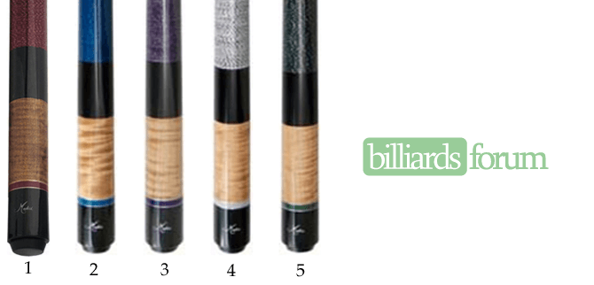 A picture of pool cues from the Medici Color Series line of cues. It can be used to identify Medici Color Series Cues and find out how much Medici Color Series pool cues are worth.
