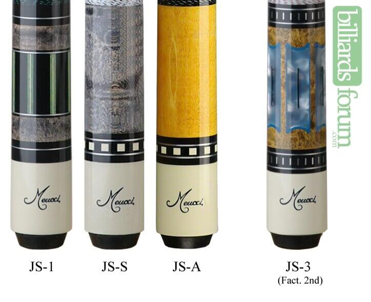 A picture of pool cues from the Meucci Jayson Shaw Series line of cues. It can be used to identify Meucci Jayson Shaw Series and find out how much Meucci Jayson Shaw Series pool cues are worth.