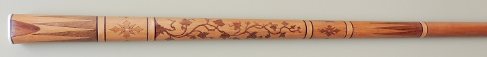 Pool cue from the 1800s with inlays done with hand-carved marquetry.
