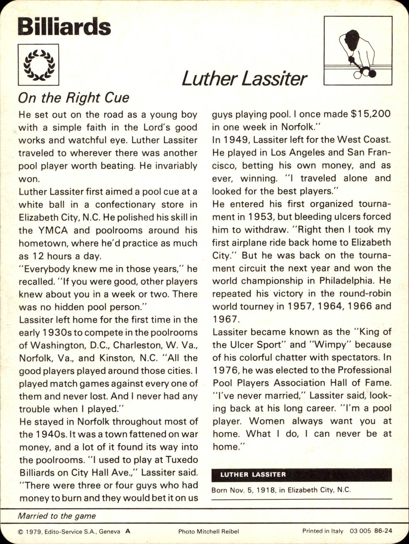 Luther Wimpy Lassiter Sportscaster Card - On the Right Cue - Back