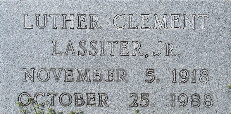 Luther Wimpy Lassiter grave stone