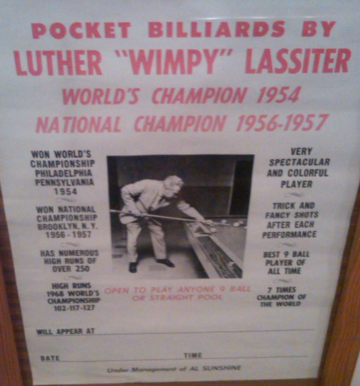 Luther Lassiter was traveling throughout the United States doing billiard exhibitions and playing in pool tournaments with his manager, Al Sunshine