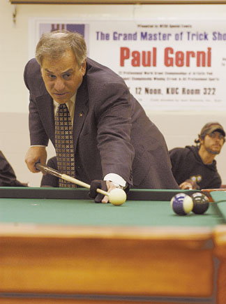 Photo of Paul Gerni playing billiards #1