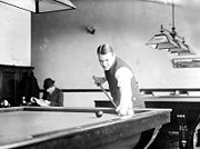 Photo of Willie Hoppe playing billiards #1