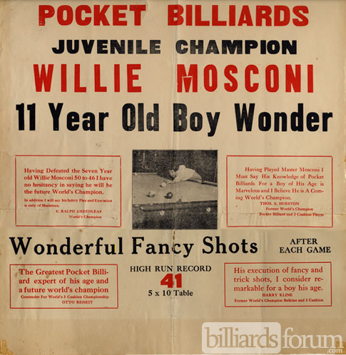 Poster featuring Boy Wonder Willie Mosconi at Age 11