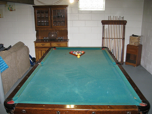Antique Pool Cue Rack and Billiard Table