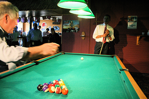 Barak Obama Plays Pool in Virginia