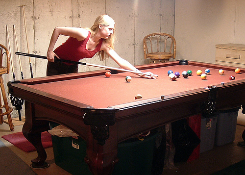 Basement Billiard Table and Swivel Stools