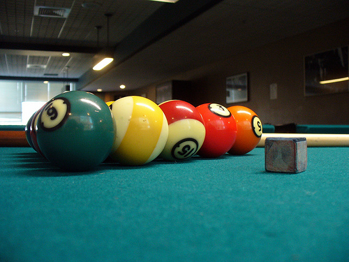 Billiard Ball Set With Dark Circles