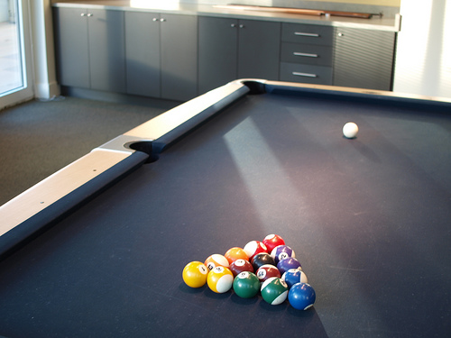 Billiard Table With Black Cloth