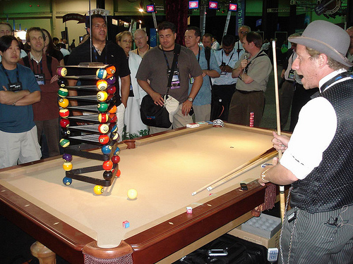 Billiard Trick Shot Jumping Over Obstacle