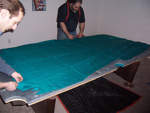 Installing Pool Table Cloth - Cutting