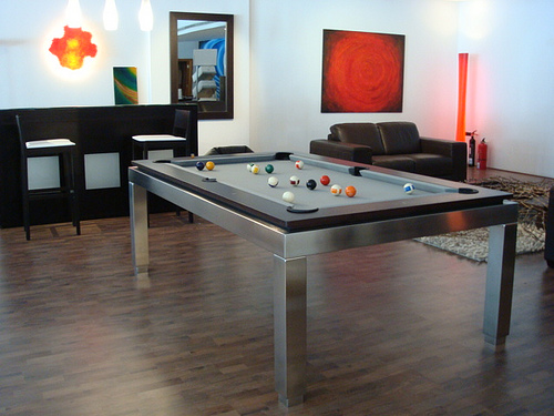 Dark Wood with Stainless Steel Pool Table