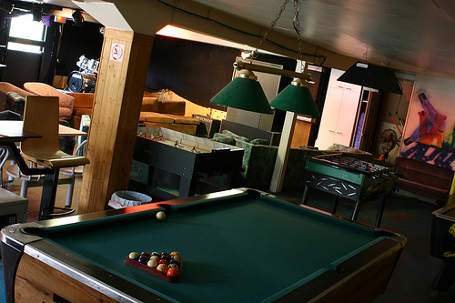 Messy Cluttered Home Billiard Table Room