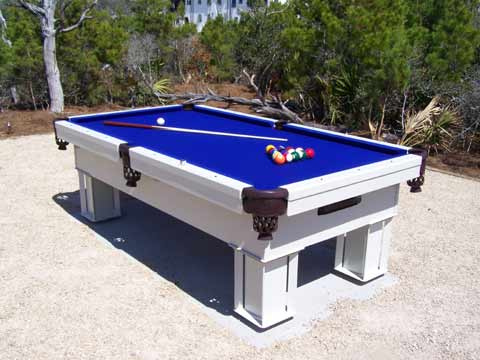 Outdoor pool table on beach for Garden pool table room