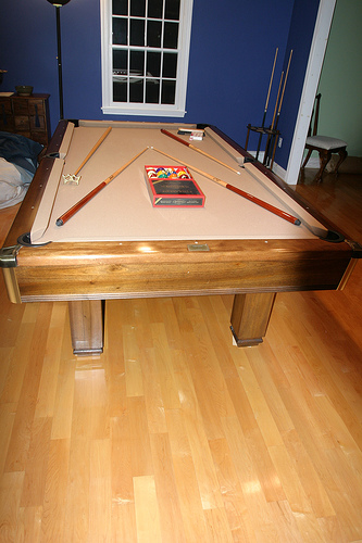 Pool Cue Stand in Billiard Room