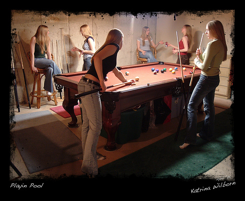 Pool Table in Unfinished Basement Billiard Room