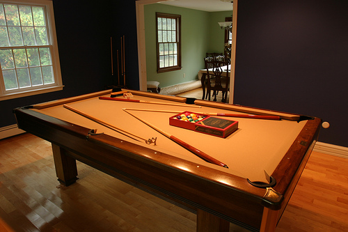 Pool Table Next To Dining Room