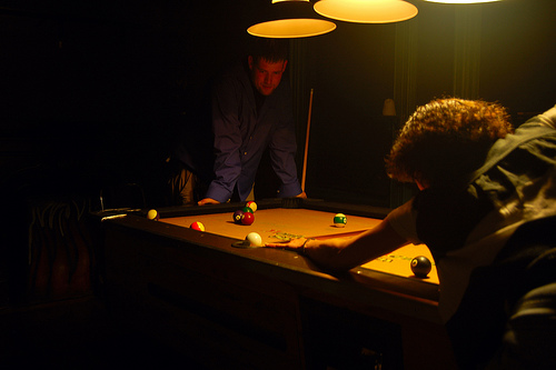 Shot On Tan Billiard Cloth Under 3 Bulb Pool Table Lamp