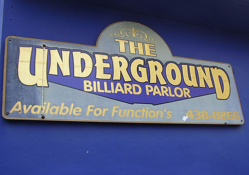 The Underground Billiard Parlor Sign