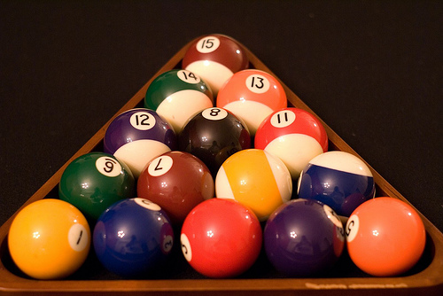 Wooden Triangle Pool Rack With Balls