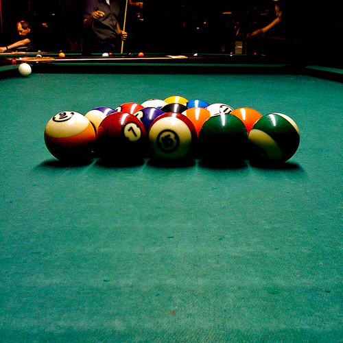 Worn Out Green Billiard Table Cloth