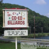 Sign for Co-Ed Billiards Pool Hall of Wilbraham, MA