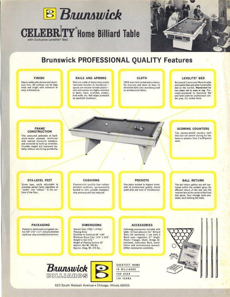 Vintage-1960s-Brunswick-Celebrity-Pool-Table- | eBay
