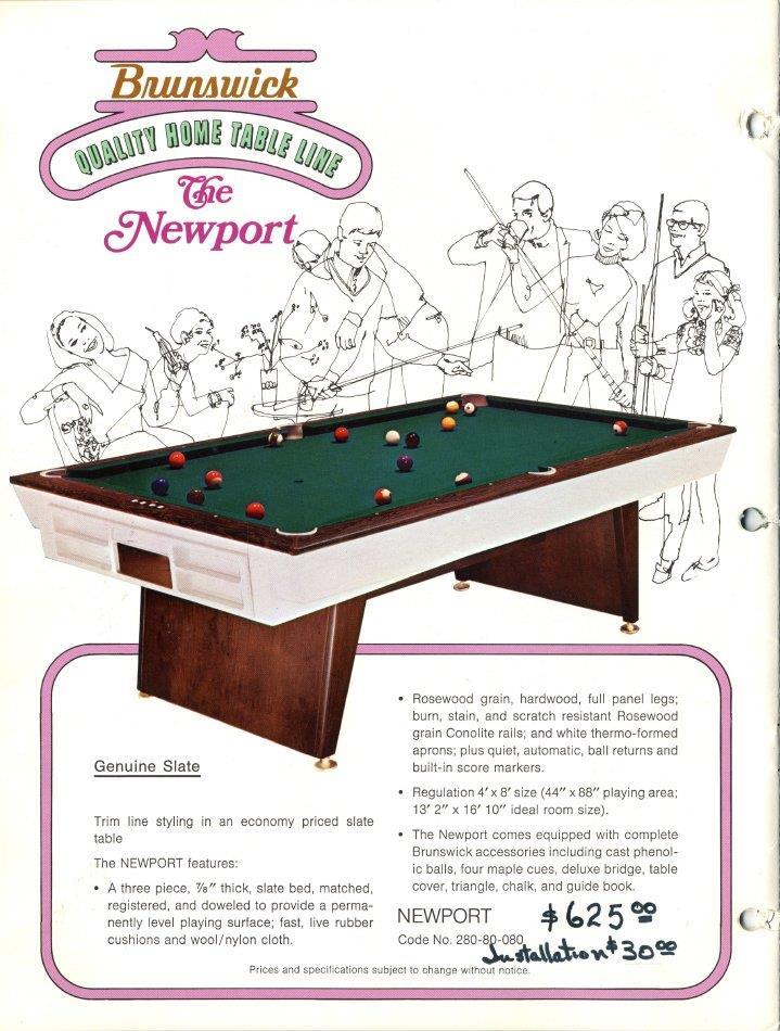 Identify This Ft Brunswick Please - Newport pool table
