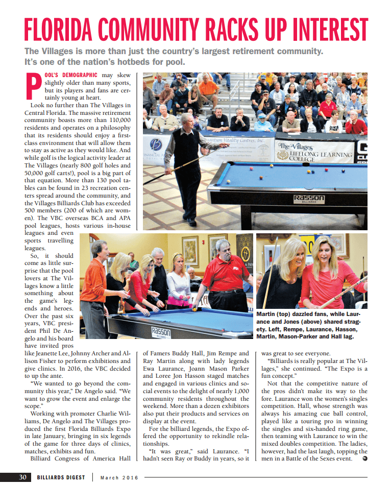 The Villages Florida March 2016 Billiard Digest Article