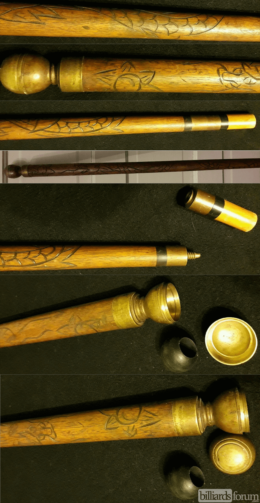 5 Piece Cane Concealed Pool Cue Carved Dragon