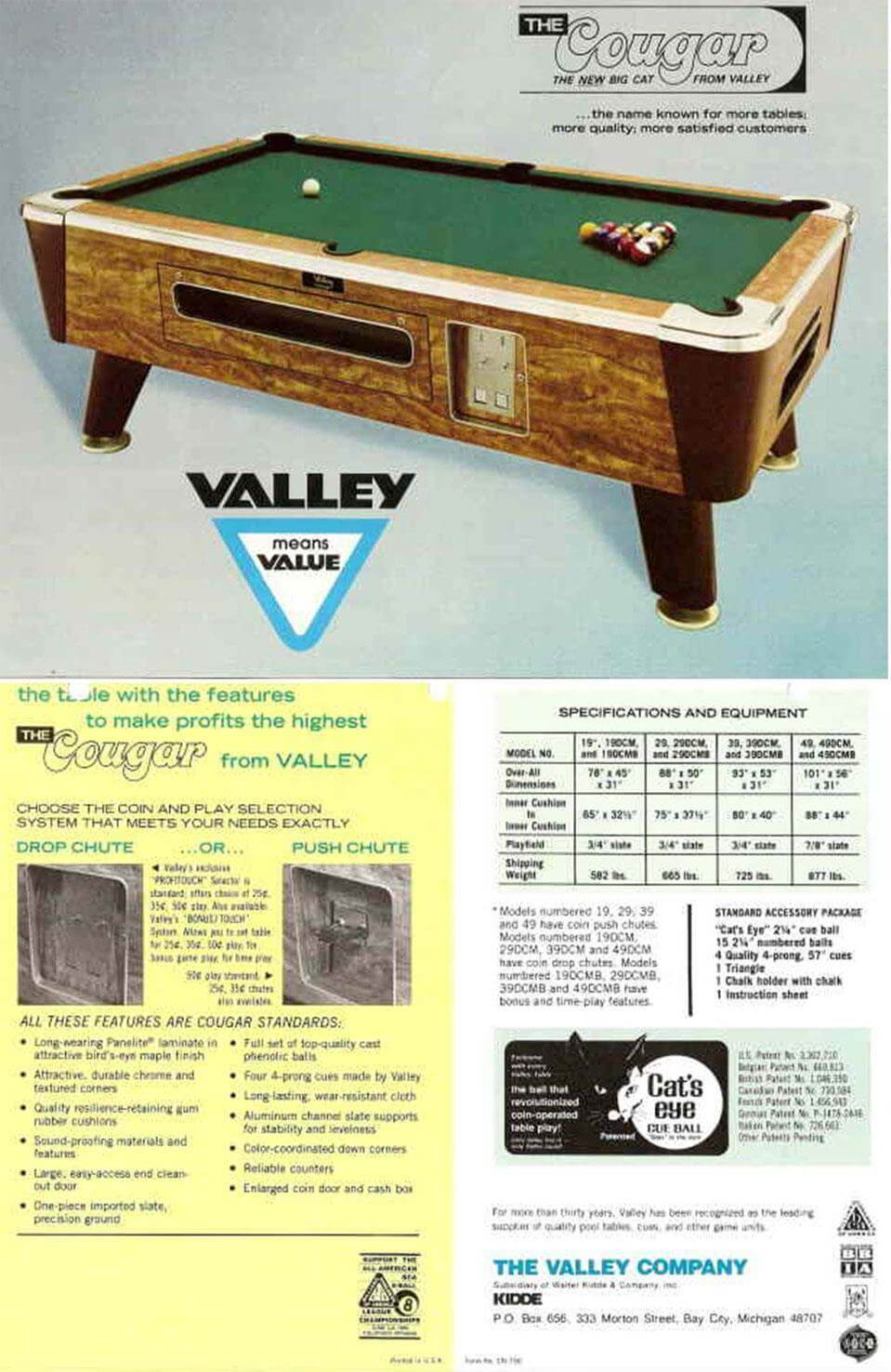 Identify Coin Operated Pool Table Manufacturer Valley - Valley pool table models