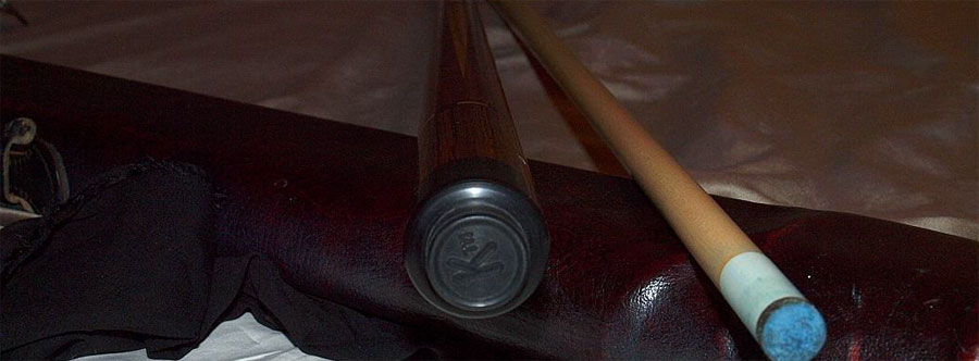 Pool cue with letter K on Butt Cap