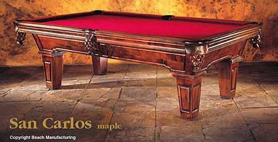 Value Of Beach Mfg San Carlos Pool Table - Beach manufacturing pool table