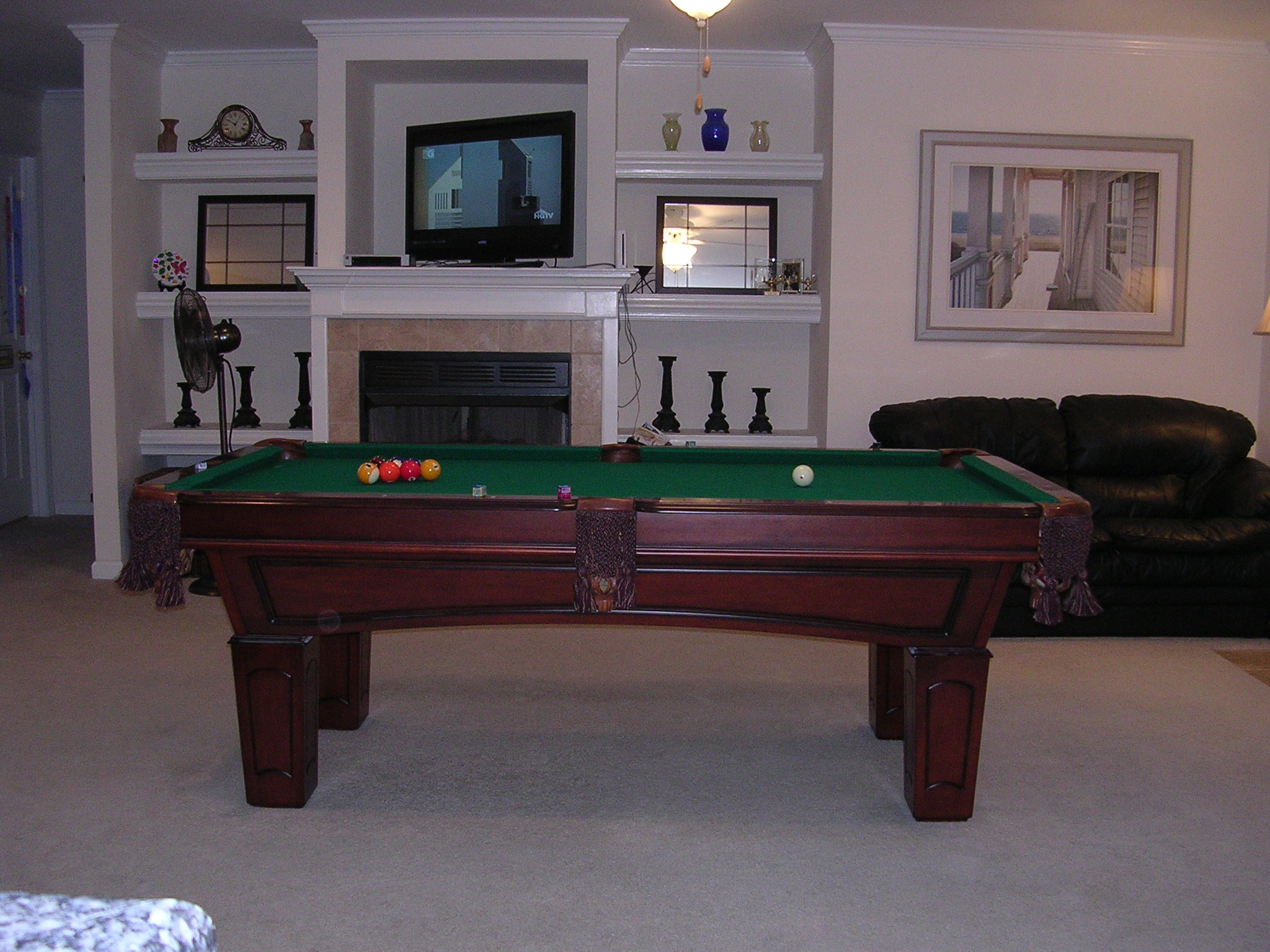 my pool room in my living room. Black Bedroom Furniture Sets. Home Design Ideas