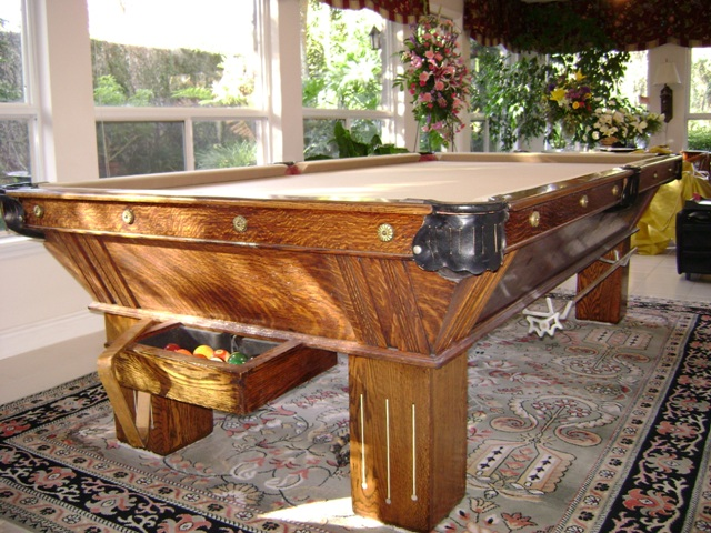 Antique Atlantic Billiard Table Corporation Pool Table For