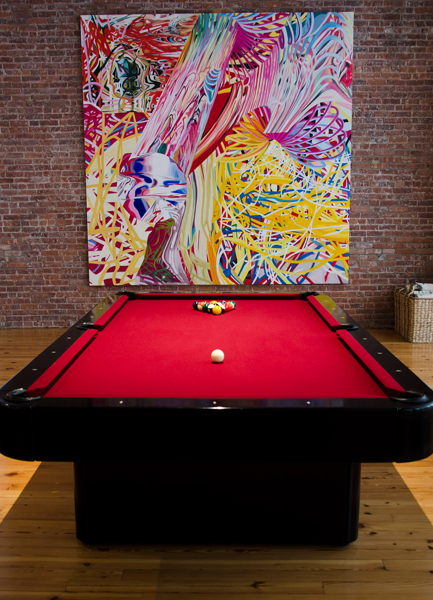Billiards Forum Pool Table With Red Cloth In An Apartment